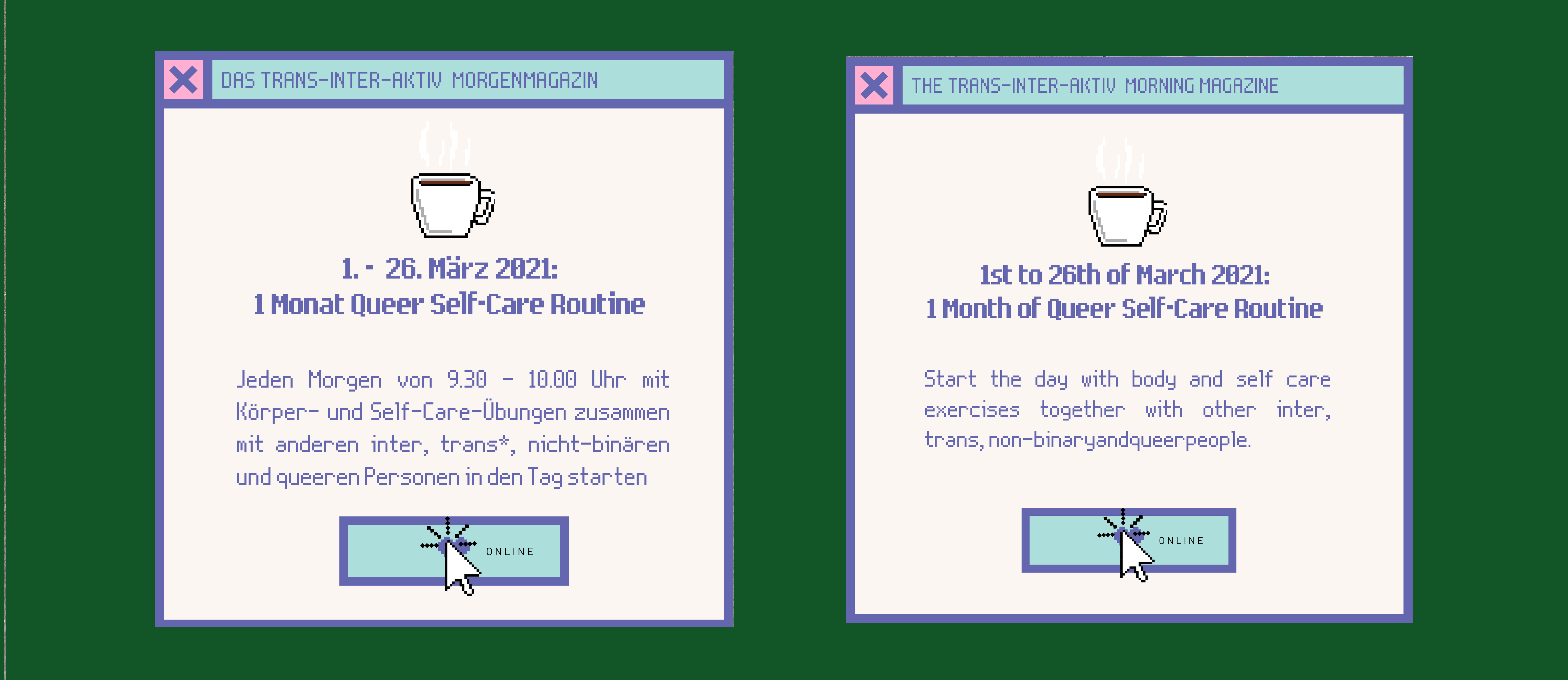 Trans-Inter-Aktiv Morgenmagazin: Queere Self Care Routine, 1.-26. März 2021 | Mo-Fr 9:30–10:00
